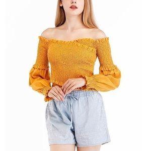 Tops - verge girl off the shoulder yellow crop top